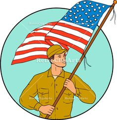 American Soldier Waving USA Flag Circle Drawing Vector Stock Illustration.  Drawing sketch style illustration of an american soldier serviceman waving holding usa flag looking to the side set inside circle on isolated background. #illustration #AmericanSoldier