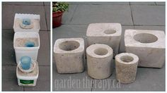 How to make concrete garden projects like concrete planters and stepping stones. Test projects from the book, Concrete Garden Projects. Diy Concrete Planters, Concrete Crafts, Concrete Art, Concrete Projects, Concrete Garden, Diy Planters, Garden Planters, Cement Pots, Succulent Planters