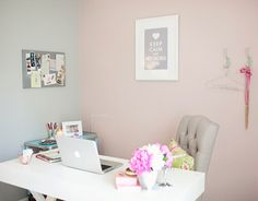 what a lovely calming home office - love it!