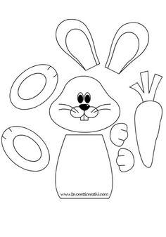SAGOMA CONIGLIO Sagome utili per realizzare un coniglio con la carota da attaccare alle porte e ai vetri delle finestre di scuola o di casa nel periodo di