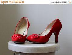 Vintage 1950s High Heels Red Stiletto Heels by SassySisterVintage
