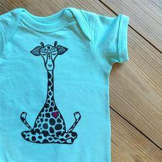 Lotus Giraffe Onesie, Mint onesie, Giraffe bodysuit, Yoga baby outfit,  Bohemian baby boy or girl, Baby shower gift, New baby gift