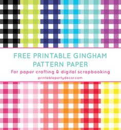 Free printable gingham pattern paper from printablepartydecor.com