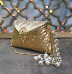 Golden Clutch Bag with Pearl Tassel