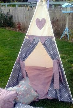 Childrens Teepee Grey and Pink Spots by LillianaDesignsUK on Etsy Scatter Cushions, Floor Cushions, Childrens Teepee, Wet Weather, Cushion Covers, Quilts, Blanket, Grey, Bespoke