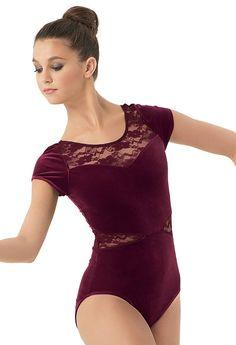 Lace Inset Plush Short-Sleeve Leotard | Balera™