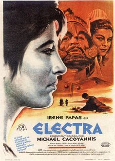 Electra is a Greek film written and directed by Michael Cacoyannis that was originally released in It stars Irene Papas as Electra, and Yannis F. Irene Papas, Katharine Hepburn, Best Actress, Classic Movies, Shades Of Grey, Cinema, Actors, Black And White, Movie Posters