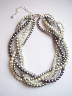 The Elisabeth Necklace - Pearl, white, gray, silver braided twisted beaded necklace Pearl Jewelry, Beaded Jewelry, Jewelry Necklaces, Handmade Jewelry, Beaded Necklace, Pearl Rings, Pearl Bracelets, Pearl Necklaces, Geek Jewelry