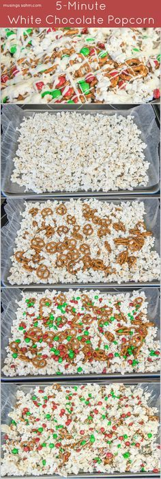 White Chocolate Popcorn only takes about 5 minutes to make and the white chocolate and pretzels make this a perfect sweet and salty party snack both kids and adults love.