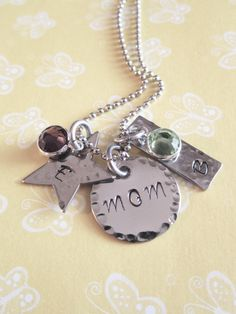 Hand Stamped Jewelry Mom Necklace by ChristinesImpression on Etsy, $28.00