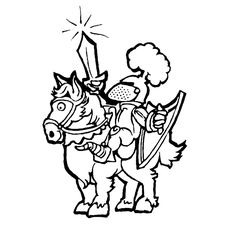 Comic Knight On Horse Coloring Book