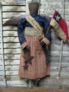 "Olde ""God Bless America "" Angel by Folk Artist Sue Corlett. Follow me on Facebook for update details."