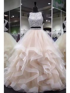 Plus Size Prom Dress, round neck tulle long prom dress, ball gown Shop plus-sized prom dresses for curvy figures and plus-size party dresses. Ball gowns for prom in plus sizes and short plus-sized prom dresses Prom Dresses Two Piece, Cute Prom Dresses, Tulle Prom Dress, 15 Dresses, Ball Dresses, Elegant Dresses, Homecoming Dresses, Evening Dresses, Dress Long