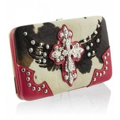 Pink Cowprint Cross with Wings Wallet