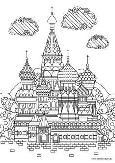 Saint Basil's Cathedral printable adult coloring page Castle Coloring Page, Cool Coloring Pages, Coloring Sheets, Coloring Books, St Basils Cathedral, Printable Adult Coloring Pages, Dibujos Cute, Printable Designs, Printables