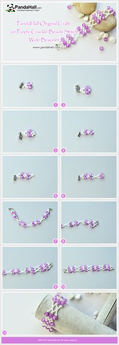 How to Make Purple Crackle Beads Stitch Wide Bracelet The main materials of the bracelet are glass pearl beads, crackle glass beads, bugle beads. The wonderful aspects of the bracelet are the color mix of violet and white and the stitching pattern. #bracelet #diy #tutorial #pandahalldiy #jewelry #pandahalljewelry #promotion #cracklebeads #craft