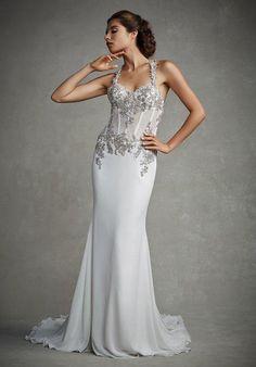 Chiffon mermaid dress with halter sweetheart neckline, soft chiffon skirt with beaded embroideries | Enzoani | https://www.theknot.com/fashion/joanna-enzoani-wedding-dress