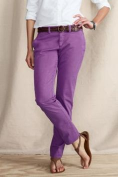 Women's Pigment Dye True Slim Chinos from Lands' End Canvas (in pink flamingo and blue jay)