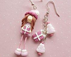 Christmas Earrings - Winter Earrings - Christmas Gifts - Secret Santa Gift Idea - Winter Earrings - Pink Purple Erarings - Dangle Earrings