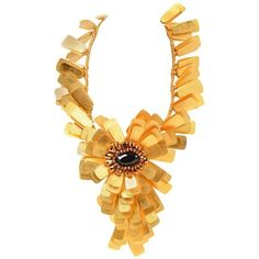 This massive necklace by Vilaiwan is primarily composed of countless gold-tone tags in a sunburst design centered around Flower Choker, Flower Jewelry, Flower Necklace, Double Layer Necklace, Layered Necklace, Beaded Statement Necklace, Teardrop Necklace, Gold Flowers, Fashion Jewelry