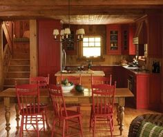 Stunning Red Kitchen Design and Decorating Ideas. Beautiful pictures of modular red color kitchen. See more ideas about Home ideas, My house and Colorful kitchens. Red Kitchen Cabinets, Painting Kitchen Cabinets, Kitchen Walls, Kitchen Chairs, Kitchen Sink, Primitive Kitchen, Rustic Kitchen, Cozy Kitchen, Rustic Table