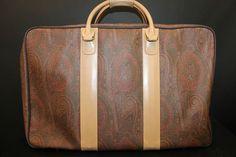 ETRO Milano Paisley Print Coated Canvas Leather Suitcase Luggage | eBay