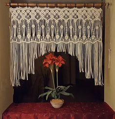 "Large Macrame Wall Hanging Headboard Window Curtain Wall Art ""Harmony"""