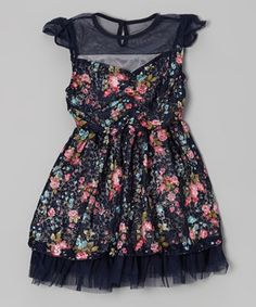 Look what I found on #zulily! Navy & Pink Floral Dress - Toddler & Girls by Di Vani #zulilyfinds