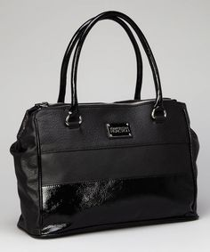 Simply chic, this designer faux leather satchel is fashioned with a multi-textured design. With a set of snaps on either side, the spacious interior, outfitted with a zippered pocket and two slip pouches, gets even roomier. Plus, two full-length zippered compartments make this the ultimate bag for sorting. 16'' W x 9.5'' H x 2.5'' D6'' shoulder drop
