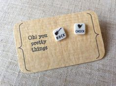 Rock chick black and white stud earring by Ohyouprettythings77