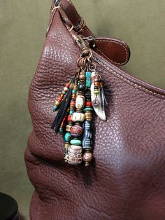 Purse Charm Zipper Pull Keychain Tassel by StoneWearDesigns