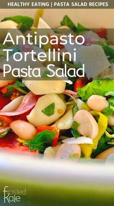 This healthy pasta salad recipe is so delicious and so easy to prepare! Tortellini pasta salad has all the flavors of an antipasto salad plus healthy spinach, basil, and white beans. One of my favorite pasta salad recipes - so flavorful and bright and the perfect easy dinner recipe! #pastarecipes #pastasalad #pastadishes #easydinnerrecipes #healthydinnerrecipes #healthypastarecipes #healthyrecipes #healthymeals