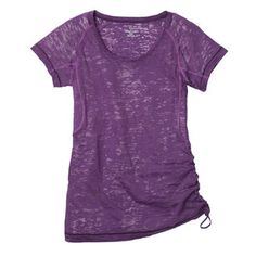 This t-shirt has a drawstring on the side for customized ruching and an adjustable fit. Its long and lightweight to make layering easier—whether you're taking a Zumba class, prenatal yoga, or walking around the block.  Flow Burnout Tee, $45, movingcomfort.com.