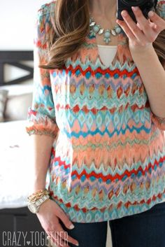 This colorful top would be perfect to hide paint or other messes in the classroom. I love the accessories, too. Just what every teacher needs.