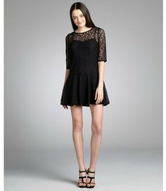 French Connection black lace sheer sleeve 'Gigliola' drop waist dress on shopstyle.com
