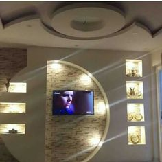 False Ceiling Design For Kids false ceiling design with fan.Curved False Ceiling Interior Design false ceiling ideas for kids. House Ceiling Design, Bedroom False Ceiling Design, Modern Bedroom Design, Stone Wall Design, Tv Wall Design, Tv Wall Decor, Ceiling Decor, Tv Showcase Design, Gypsum Design