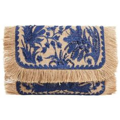 Jute Flowers Clutch (1,860 DOP) ❤ liked on Polyvore featuring bags, handbags, clutches, purses, bolsos, embroidered handbags, fringe clutches, metallic clutches, hand bags and fringe handbags