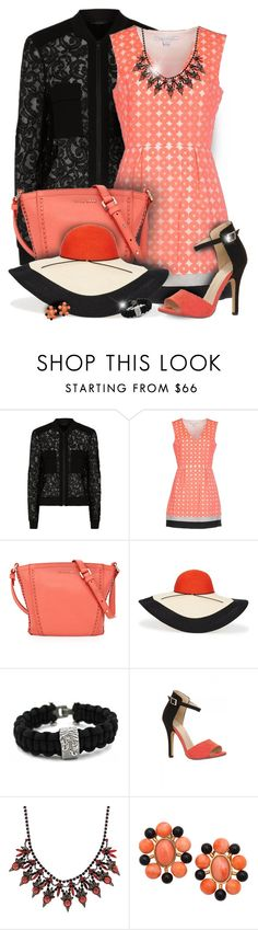 """Black Lace Bomber Jacket & Coral Dress Outfit"" by helenehrenhofer ❤ liked on Polyvore featuring BCBGMAXAZRIA, Diane Von Furstenberg, Trilogy, Cole Haan, Eugenia Kim, David Yurman and Elizabeth Cole"