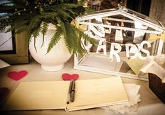 #OurWedding card box, guest book & gift table #LoveIsInTheAir #Weddingbells english-country-garden-wedding