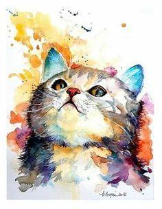 9302a4b9caff6812d0a0716e4953480c.jpg (370×477) #CatWatercolor