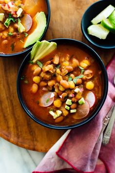 This hearty vegan posole is made with pinto beans instead of pork! #vegansoup #vegetariansoup #posolerecipe