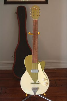 """Kay """"Deco"""", an extremely rare early model made in the Featured in 'Guitar Stories' by Michael White, an excellent reference book on the history of cool guitars. Guitar Art, Music Guitar, Cool Guitar, Ukulele, Art Music, Unique Guitars, Custom Guitars, Rare Guitars, Vintage Electric Guitars"""