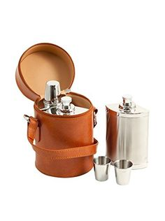 Bey-Berk 6-Piece Stainless Steel Flask Set with Leather Carrying Case