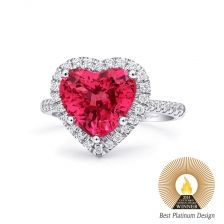 A vibrant 3.08CT heart shaped spinel ring with diamond accents. Set in platinum. Stunning #CoastDiamond #heart ring perfect for #weddings and beyond. (LCK10048-SPIN)
