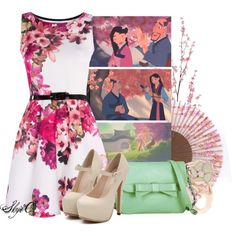 Cherry Blossom - Spring - Disney's Mulan by rubytyra on Polyvore featuring Knights and Roses, Shaun Leane, Pier 1 Imports, Spring, disney, disneybound and mulan