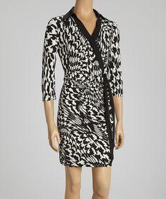 Ivory & Black Warped Houndstooth Wrap Dress by Shelby & Palmer #zulily #zulilyfinds