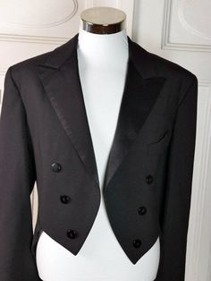 American Vintage Black Evening Tailcoat, Black Wool-Blend Full-Dress Tailcoat, 1970s Double-Breasted Silk-Faced Lapels: Size 44 US/UK by YouLookAmazing on Etsy