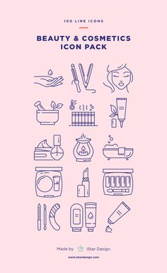 Beauty & Cosmetics Icons Set made by iStar Design. Series of 100 pixel-perfect icons, created by influence of beauty salon, makeup and cosmetics. Neatly organized icon, file and layer structure for better workflow experience. Carefully handcrafted icons usable for digital design or any possible creative field. Suitable for print, web, symbols, apps, infographics.