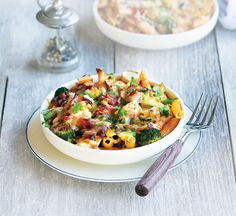 Two-cheese low calorie pasta bake - Healthy Food Guide Healthy Pasta Bake, Broccoli Pasta Bake, Healthy Pastas, Healthy Baking, Healthy Recipe Videos, Healthy Dinner Recipes, Healthy Snacks, Savoury Recipes, Vegetarian Recipes
