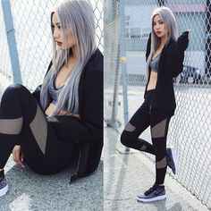 Get this look: http://lb.nu/look/8090554  More looks by Catherine pham: http://lb.nu/user/5586872-Catherine-pham  Items in this look:  Forever21 Netted Sleeved Jacket, Nike Grey Airforce 1 Ultra Flyknit, Forever 21 Netted Leggings, Forever 21 Grey Sportsbra   #sporty